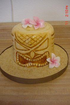 Tiki mask cake by Lisa's Sweet Smiles, via Flickr