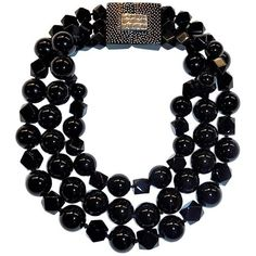 Patricia Von Musulin Black Onyx Necklace ($3,975) ❤ liked on Polyvore featuring jewelry, necklaces, beaded necklaces, black, black onyx bead necklace, round necklace, patricia von musulin jewelry, beads jewellery and beaded jewelry