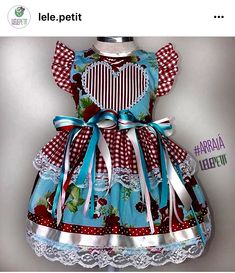 Vestidos juninos Girl Doll Clothes, Doll Clothes Patterns, Clothing Patterns, Girl Dolls, Cute Outfits For Kids, Cute Kids, Little Girl Dresses, Girls Dresses, Lolita Dress