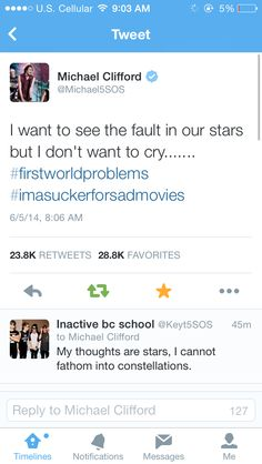 Why I love mikey we like TFiOS and we don't want to cry although I'm going to see it tomorrow :)