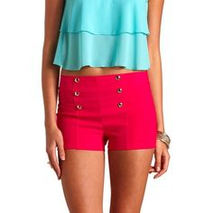 Stretchy High-Waisted Sailor Shorts ($20) ❤ liked on Polyvore featuring shorts, pink, rayon shorts, high-waisted shorts, j.crew shorts, stretch shorts and nautical shorts