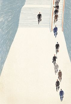 by Masako Kubo. Beautiful, simple color palette. I'm always amazed how good illustrators can do so much with so little. The bright orange escalator rails are just the trick to draw you attention to what's going on. Love the concept too.