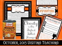 October 2015 LDS Visiting Teaching Kit-- the can of pumpkin wrapper is SO CUTE!!!