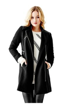 Mixed Coat with Faux Leather   GUESS.com