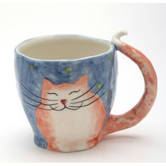 Cosmos Gifts Cats in the Cupboard Happy Day Smiling Cat Mug Clay Mugs, Ceramic Mugs, Ceramic Art, Porcelain Ceramics, Ceramics Pottery Mugs, Painted Porcelain, Fine Porcelain, Slab Pottery, Pottery Art