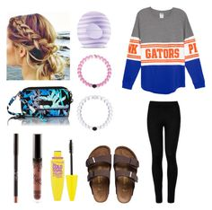 """""""Cute lazy day outfit (go gators!!!!)"""" by agrava ❤ liked on Polyvore featuring Wolford, Birkenstock, Vera Bradley, Eos and Maybelline"""