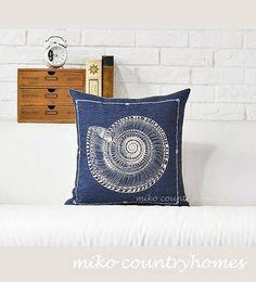 "$15   Nautical Inspired   Decorative Throw Pillow Cover   Nautilus Shell   45x45cm 18""x18"" #homedecor #throwpillows #pillowcover #nauticalpillows #nauticaldecor #nautilusshell #seashell"