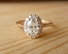 Oval Moissanite and Diamond Halo by kateszabone on Etsy