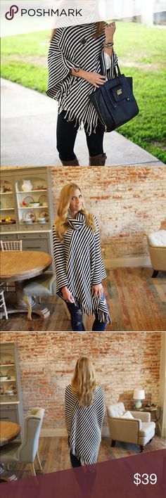 """NEW ARRIVAL🎉Black and white striped fringe poncho Black and white striped cowl neck poncho with fringe. Length: 27""""/41"""".   Add to bundle to save. IR1058243 Infinity Raine Sweaters Shrugs & Ponchos"""