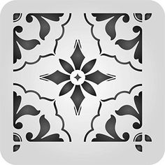 Mexican Tile Stencil - 6 x 6 inch (S) - Reusable Talavera Moroccan Turkish Italian Tile Stencils for Painting - Use on Walls, Floors, Fabrics, Glass, Wood, and More.