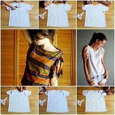 Do you have some old tees that are sitting in your wardrobe for a long time? Here& a super easy DIY project to refashion your basic tee into a stylish one. There is no need to sew, so you can design yourself a new tee within a few steps. Diy Clothes Jeans, Diy Clothes Hacks, Diy Clothes Hangers, Diy Clothes Storage, Diy Summer Clothes, Diy Clothes Videos, T-shirt Refashion, Diy Clothes Refashion, Diy Clothing