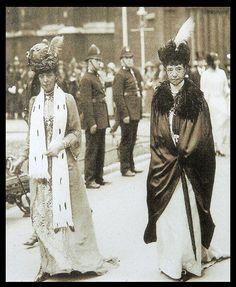 "Queen Alexandra Caroline ""Alix"" (1844-1925) Denmark & her sister the Dowager Empress Maria Feodorovna ""Minnie"" (Dagmar of Denmark) (1847-1928). Queen Alix was the wife of Albert Edward (King Edward VII) (1841-1910) Prince of Wales, UK. Maria (Dagmar of Denmark) was the wife of Emperor Alexander III (Alexander Alexandrovich Romanov) (1845-1894) Russia."