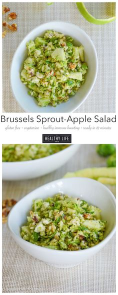 Brussels Sprouts and Apple Salad with Blue Cheese.  Gluten Free, Vegetarian, Healthy antioxidant salad that is ready in 12 minutes - A Healthy Life For Me