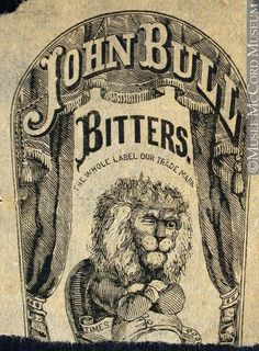 Commercial label of John Bull Bitters - lion.