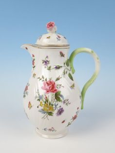 Antique KPM German Porcelain Floral Chocolate Pot / Coffee Pot / Teapot -   Leaves and a rosebud in relief by the top of the handle, and swirls of raised ribs on the body too.