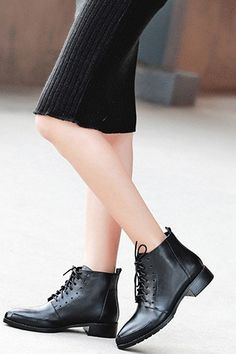 LUCLUC Black Chunky Heels Shoes