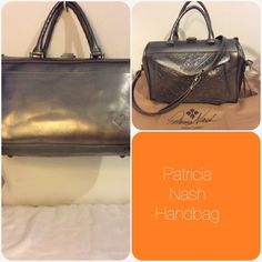 "NWT Patricia Nash Handbag Gunmetal Gorgeous Leather Metallic Folklore Gunmetal handbag. Fully lined interior. Main compartment with zip pocket and 2 slip pockets. Front envelope pocket with 2 card slots, magnetic snap enclosure. Rear exterior slip pocket with magnetic snap closure. Double handles , detachable adjustable strap . Includes Patricia Nash dust bag. Measurements: 12"" (W) x 7"" (H) x 6"" (D)   Strap drop 5"" handle, 21"" cross body strap.      Retails $249. Sorry no trades. Patricia…"