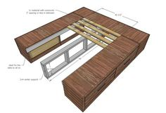 Ana White | Build a Wood Storage Bed with Drawers - KING | Free and Easy DIY Project and Furniture Plans
