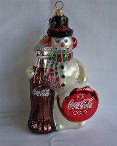 Coca Cola 1998 Polonaise Collection Kurt Adler Blown Glass Snowman Ornament