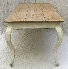 420- Handmade  french country cabriole dining table antique finish & reclaimed fir top.  Went to live in Wisconsin.