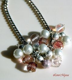 Beaded Chain Bracelet Florie in Pink by LoveMyssa on Etsy