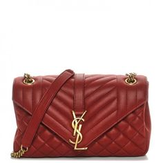 feaf2b5e9440 SAINT LAURENT Sheepskin Medium Tri-Quilt College Monogram Satchel Red. Ysl  CollegeCollege BagsShoulder ...