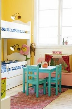 Kids Rooms — love the color combo of Pool Party, Real Red, Daffodil Delight and Pink Pirouette!!