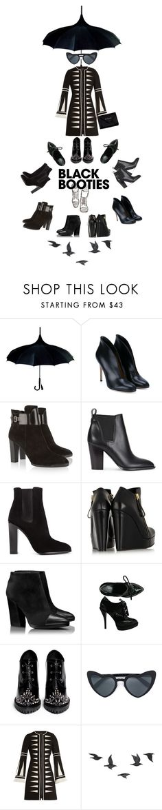 """""""Black booties contest."""" by petitemia ❤ liked on Polyvore featuring Gianvito Rossi, Tod's, Vince, Yves Saint Laurent, Pierre Hardy, Tory Burch, Gucci, Alexander McQueen, Andrew Gn and Jayson Home"""