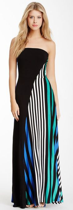 Strapless Knot Back Solid Stripe Knit Maxi Dress - this would be fun as just the skirt.