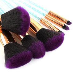 Purple, Crystal Blue, and Black Make Up Brush Set Soft Purple, Purple And Black, Unicorn Brush, Natural Glowy Makeup, Makeup For Teens, Mermaid Makeup, Makeup Brushes, Brush Set, Immense
