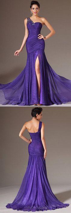 Purple Prom Dresses, Mermaid Prom Dresses, Long Formal Dresses, One Shoulder Evening Dresses, Elegant Party Gowns