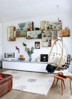 love the boxes, the hanging chair, and the low shelf thing