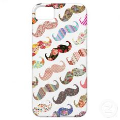 This @Dana McGlocklin! Funny Girly Colorful Patterns Mustaches iPhone 5 Cases