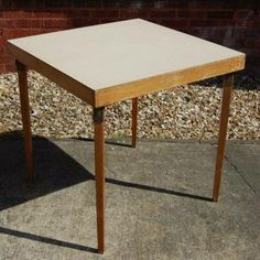 Vintage Retro 1960s Square Foldaway Cream Formica Kitchen Dining Table