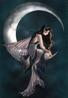 amy brown moon fairy (love this one! Magical Creatures, Fantasy Creatures, Amy Brown Fairies, Dark Fairies, Fantasy Fairies, Moon Fairy, Kobold, Fairy Pictures, Earth Design