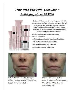 Check out this Before and After. The pictures say 1,000 words! Mary Kay's TimeWise Repair Set! http://www.marykay.com/victoria_jones/en-US/Gifts/TimeWise-Repair-Volu-Firm-Set/100906.partId?eCatId=10686