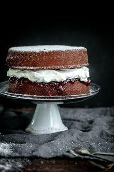 Vanilla Sponge Cake with Strawberry Black Pepper Jam and Mascarpone Cream