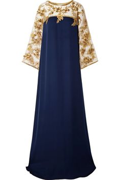 Marchesa - Embellished Tulle-trimmed Silk Gown - Navy in 2020 Long African Dresses, African Fashion Dresses, Fashion Outfits, Hijab Evening Dress, Evening Dresses, Abaya Fashion, Muslim Fashion, Cotton Long Dress, Abaya Designs