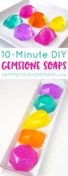 Make your own DIY Gemstone Soaps in around 10 minutes! These sparkly gem and jewel soaps shimmer and shine, and they smell AMAZING (in any fragrance your heart desires!)! via @hiHomemadeBlog