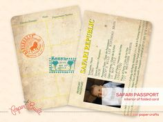 Printable Safari Birthday Party Passport by PaperBuiltShop on Etsy, $15.00