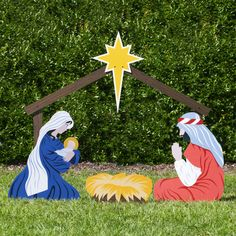 Nearly life-size, the color Large Classic Outdoor Nativity Set Holy Family Scene is the ideal Christmas yard decoration for churches or homes. Made in America. Free shipping in US.