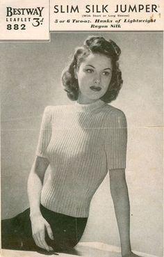 vintage knitting pattern for ladies jumper
