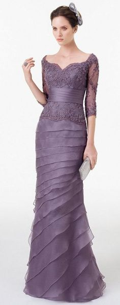 2016 Elegant Purple Mother Of The Bride Dresses Sheath Sleeves Appliques & Beadings Evening Gowns Plus Size Vestidos Evening Dresses, Prom Dresses, Formal Dresses, Bride Dresses, Beautiful Gowns, Beautiful Outfits, Gorgeous Gorgeous, Elegant Dresses, Pretty Dresses