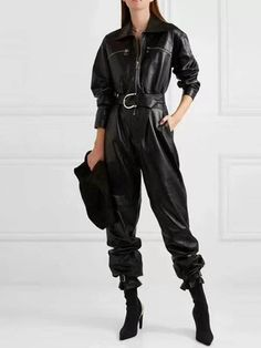 Leather Jumpsuit, Black Jumpsuit, Leather Pants, Pu Leather, Style Outfits, Fashion Outfits, Womens Fashion, Female Fashion, Pants For Women