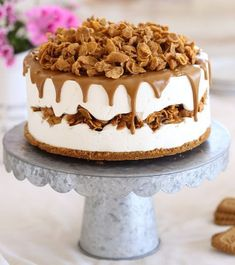 mascarpone and biscoff spread frozen cake Bolo Original, Sweet Recipes, Cake Recipes, Mascarpone Cake, Summer Dessert Recipes, Ice Cream Toppings, Chocolate Ice Cream, Chocolate Texture, Food Cakes