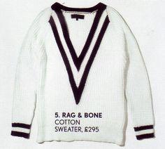 Rag & Bone Cricket/Tennis Sweater/Jumper.  Photo Courtesy of:  British Vogue