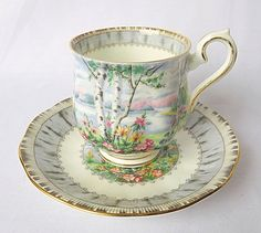 Vintage Royal Albert, Bone China England, Silver Birch Lady Cup and Saucer In good aged condition without chips or cracks. Please note, antique & vintage pieces are considered used,and some may have slight imperfections or wear, as to be expected of antique/vintage items. We will note any