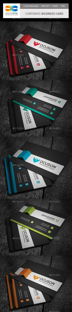Corporate Business Card Template PSD. Download here: http://graphicriver.net/item/corporate-business-card/4265346?s_rank=141&ref=yinkira