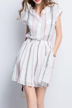 Leaves Print Twin Pocket Cut Out Dress