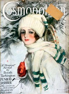 "Cosmopolitan magazine, JANUARY 1918 Artist: ""The Snow-Bird"" Harrison Fisher"